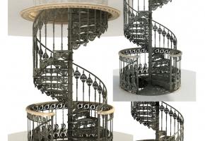 Чугунная винтовая лестница. Межэтажная площадка